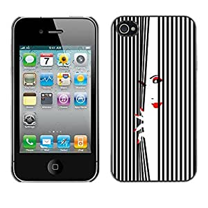 Omega Covers - Snap on Hard Back Case Cover Shell FOR Apple iPhone 4 / 4S - Lady Lips Eyes White Black Nails