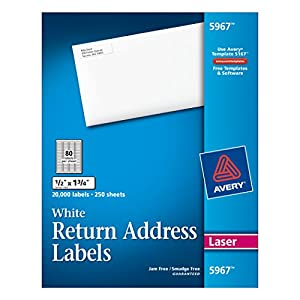 Avery Laser Labels, 0.5 x 1.75 Inches, White, 20,000 Labels Per Box  (5967)