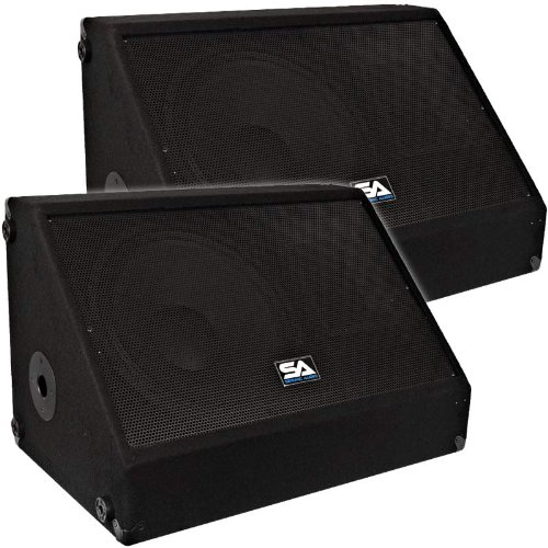 "Seismic Audio - Pair Of 15"" 700 Watts Floor Monitors Studio, Stage, Or Floor Use - Pa/Dj Speakers"