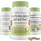 BioGanix White Mulberry Leaf Extract Premium 1000mg | Blood Sugar Stabilizing Herbal Weight Loss Support Supplement | Antioxidant Rich & High In Fiber and Protein | Increase Energy, Lower High Blood Pressure and Bad Cholesterol (60 Veggie Capsules - 500mg per pill) *100% MONEY BACK GUARANTEE*