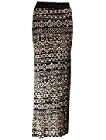 The Home of Fashion Womens Black and Mocha Aztec Print Stretchy Jersey Maxi Skirt