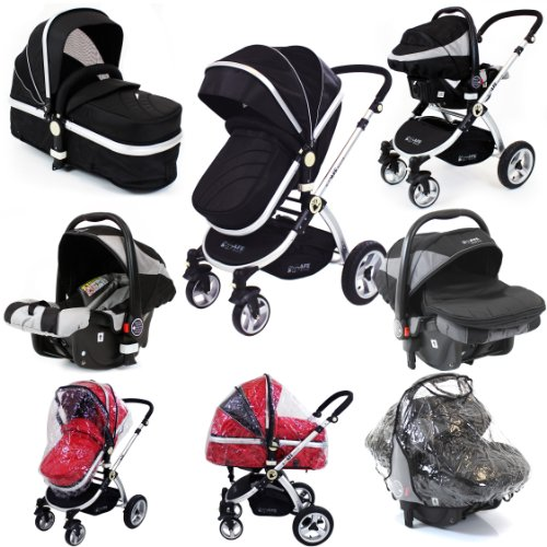 i-Safe System - Black Grey Travel System Pram & Luxury Stroller 3 in 1 Complete With Footmuff, Head support, Carseat Footmuff, All the Raincovers iSafe