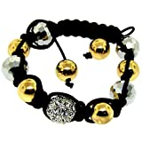 Luxury Shamballa Disco Ball Macrame Bracelet Black Silver & Gold Iced Out Swarvoski Bling Reviews Picture