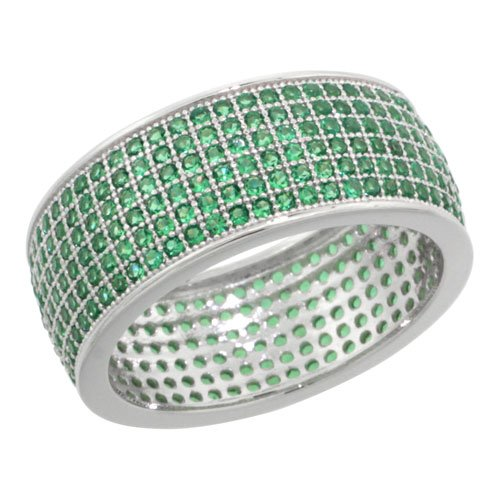 Sterling Silver Cubic Zirconia Micro Pave 6-Row Eternity Band Ring w/ Green Stones, Size 6