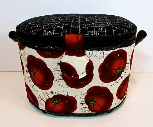 St.Jane Sewing Basket,ecru with Cherry Red Pincushions,ruler Print,plastic Compartment Shelf,handle,9.2
