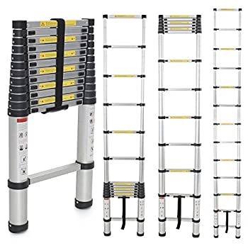 Generic EN131 Std. 12.5Ft Aluminum Telescopic Tel escoping Ladder Extension Exte nd Loft