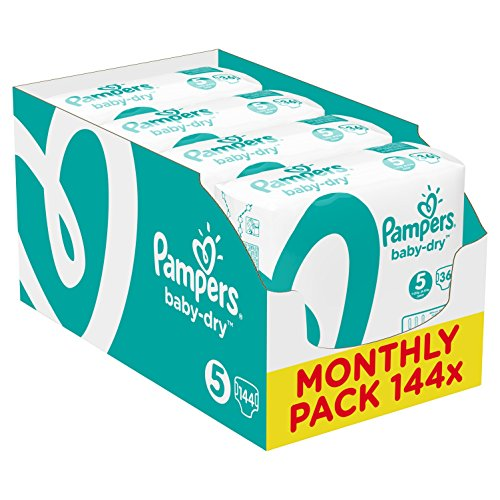 Pampers Baby-Dry Nappies Monthly Saving Pack - Size 5, Pack of 144