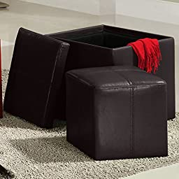 Swayne Brown Storage Ottoman with Mini Foot Stool by TRIBECCA HOME , Brown, 14 h x 14 w x 14 d