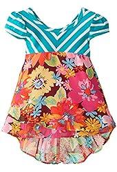 Youngland Baby-Girls Striped Knit To Print Chiffon Fashion Dress