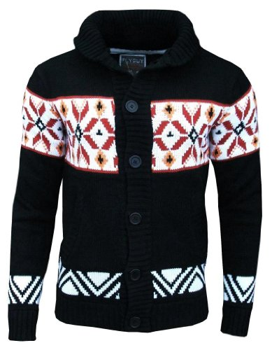 Fly Guy Men's Aztec Mason Shawl Neck Fashion Cardigan Jumper Black / White / Deep Red / Light Orange Small