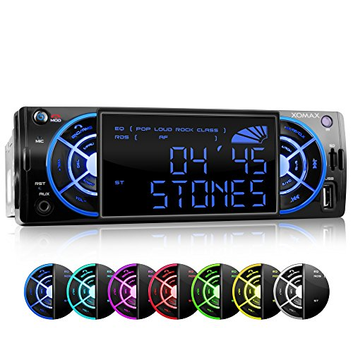 XOMAX-XM-RSU235BT-Autoradio-mit-Bluetooth-4-Zoll10cm-LCD-Anzeige-7-Beleuchtungsfarben-blau-rot-grn-trkis-violett-gelb-wei-USB-Anschluss-bis-32-GB-Micro-SD-Kartenslot-bis-32-GB-fr-MP3-und-WMA-AUX-IN-Ve