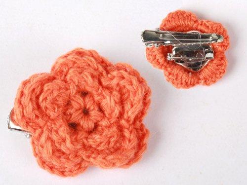 ヘアピン レース ウール 花柄 髪飾り 結婚式 パーティー#オレンジ