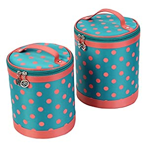 Cylindrical Teal Pink Dots Pattern Zip Up Cosmetic Makeup Bag 2 in 1