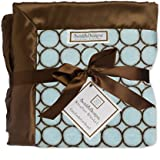 SwaddleDesigns Stroller Blanket, Brown Mod Circles, Pastel Blue