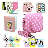 Fujifilm Instax Mini 8 Instant Camera Accessory Bundles Set (Included: Pink Vintage Instax Mini 8 Case Bag With Film Count Show/ Sweet time Mini Book Album / Pink Rabbit Design Mini 8 Close-Up Lens(Self-Portrait Mirror)/ Colorful Close-Up Lens For Mini 8/ Wall Decor Hanging Frame/ 3 Inch Photo Frame/ Colorful Decor Sticker Borders)