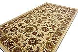ウィルトン織 玄関マット 室内 ペルシャ絨毯 約 70X120cm アイボリー 北欧 ラグマット 02M004 ビスコースカシャーン70120iv
