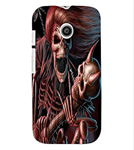 ColourCraft Rockstar Skeleton Design Back Case Cover for MOTOROLA MOTO E