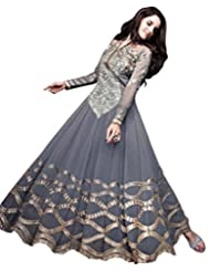 Exotic India Gray Designer Anarkali Suit With Zari-Embroidered Floral Pat - Grey