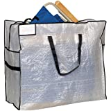 Household Essentials Large Tote Bag, Clear Tarp with Black Trim and Handles