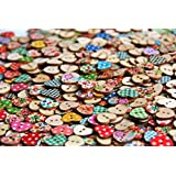Heart Shaped Painted 2 Hole Wooden Buttons 18mm X15mm (Pack of 50pcs)