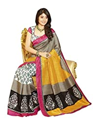 Janasya Women's Multi-coloured Bhagalpuri Silk Motif Printed Sarees
