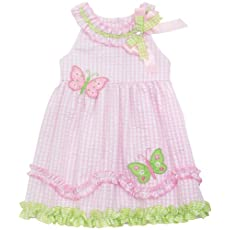 Rare Editions Toddler Butterfly Seersucker Dress 4T Pink/mint