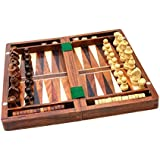 SouvNear Wood Backgammon and Chess Set Combo - 12 Inch Travel Size Portable Folding Game Board with Storage and Magnetic Chess and Backgammon Pieces in Rosewood - Handmade Traveling Wooden Indoor Family Board Games and Birthday Gifts - Great Quality, Fair Price and 100% Satisfaction Guarantee