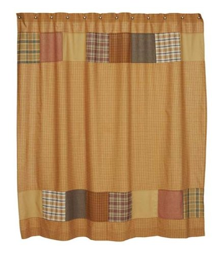 Burlington Shower Curtain In Rustic Country Patchwork Star Pattern
