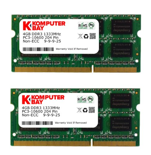Komputerbay 8Gb (2X 4Gb) Ddr3 Sodimm (204 Pin) 1333Mhz Pc3-10600 (9-9-9-25) Laptop Notebook Memory For Apple Macbook Pro