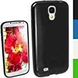iGadgitz Black Glossy Durable Crystal Gel Skin (TPU) Case Cover for Samsung Galaxy S4 IV I9500 I9505 Android Smartphone Mobile Phone + Screen Protector