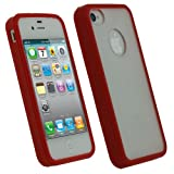 IGadgitz Red Hard Case & Gel (Thermoplastic Polyurethane TPU) Edged Cover for Apple iPhone 4S 16GB 32GB 64GB + Screen Protector