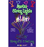 "10 piece Multicolor LED/Fiber Optic Martini Glass Stringlight, 11'6"" White Wire, Plug-in, Linkable"