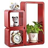 DecorNationWall Shelf Set 3 Floating Storage Wall Shelves Cube Rectangle Red