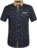 SSLR Men's Printing Pattern Casual Short Sleeve Shirt (Small, Blue(False...