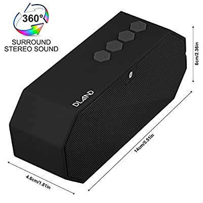 DLAND Water Resistant Wireless Bluetooth Speaker - IPX6 Waterproof, HD Audio, Built-in Mic, Support 3.5 mm Audio Jack