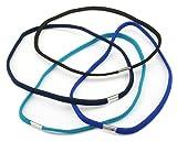 Zest 4 Pack Long Hair Elastics Headbands Hair Accessories Blue Mix