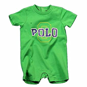 Polo By Ralph Lauren Infant Boy's One-Z Jersey Polo Shortall Layette (9 Months, Green)