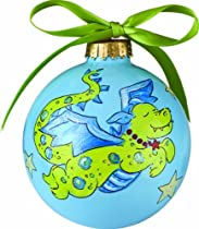 Light of Mine Ornament, Green Dragon on Blue
