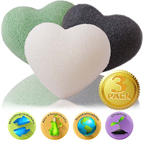 Konjac Sponge ★ 3 Pack ★ Bamboo Charcoal, Green Tea, Natural White | Hypoallergenic Facial Cleansing Sponges For Deep Cleaning | Exfoliating Beauty Care Face Treatment | Perfect For Acne Wash, Microdermabrasion Cleansers, Body Scrub, Soap & Baby Bath | Gr