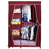 Homdox-Faltbare-Kleiderschrank-Faltschrank-Garderobenschrank-Garderobe-Schuhregal-Regale-Abdeckung-Seitentaschen-Rot-1