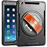 iPad Air Case, New Trent Gladius Air iPad Case for iPad Air and iPad Air 2 360 Degree Rotatable [Rugged: Shock Proof] with Built-in Stand, Screen Protector, and Leather Hand Strap