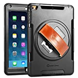 iPad Air Case - New Trent Gladius Air iPad Case for iPad Air and iPad Air 2 360 Degree Rotatable [Rugged: Shock Proof] with Built-in Stand - Screen Protector - and Leather Hand Strap