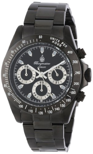 Burgmeister Men's Houston Chronograph Stainless Steel Ip Black Bracelet Watch BM212-622 With Black Dial 24H Tachymeter