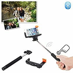 MDN Press&Shoot 2-In-1 Self-portrait Monopod Extendable Selfie Stick with built-in Bluetooth Remote Shutter With Adjustable Grip Holder for iPhone 6,iPhone 6 Plus 5s 5c 5 4s 4,Samsung Galaxy S5 S4 S3, Note 10.1 8 3 2 Moto X