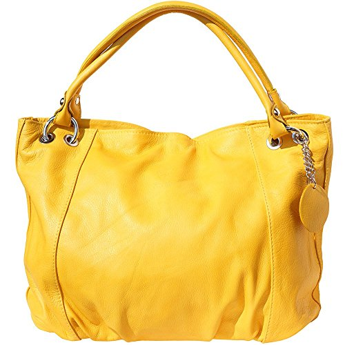 BORSA A SPALLA MEDIA IN PELLE DI VITELLO MORBIDO 3005 (Giallo)