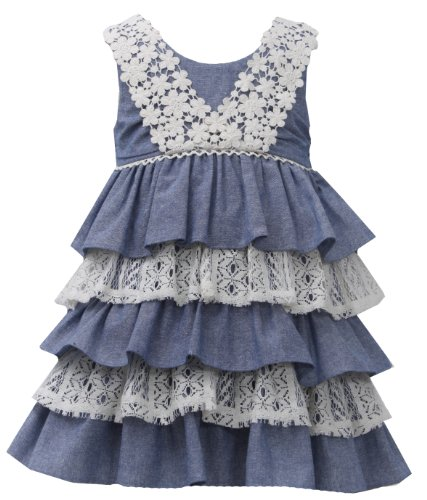 Bonnie Baby Baby-Girls Infant Tiered Chambray And Lace Dress, Blue, 24 Months front-1012384