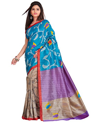 Inddus Blue Printed Art Cotton Saree With Bhagalpuri Blouse Piece