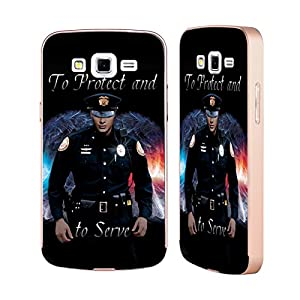 Official Jason Bullard To Protect And To Serve Law Enforcement Gold Aluminum Bumper Slider Case for Samsung Galaxy Grand 2