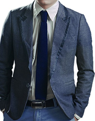 HDE Mens Vintage Casual Solid and Pattern Waffle Knit Woven Square End Neck Tie (Navy Blue) (Mens Cotton Ties compare prices)