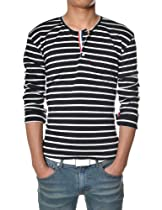 TheLees (DK20) Mens Casual Slim Fit Taped Stripe Long Sleeve Tshirts Black Medium(US Small)